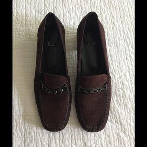 Stuart Weizman brown suede loafer w/rhinestone
